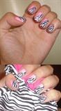 Pink zebra nail art