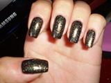 Black / Glitter nail art