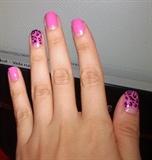 Half moon - Pink leopard Nail  Art