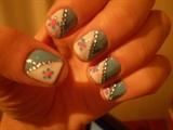 White and blue nail Art