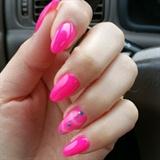 Pink almond shape nails ♡