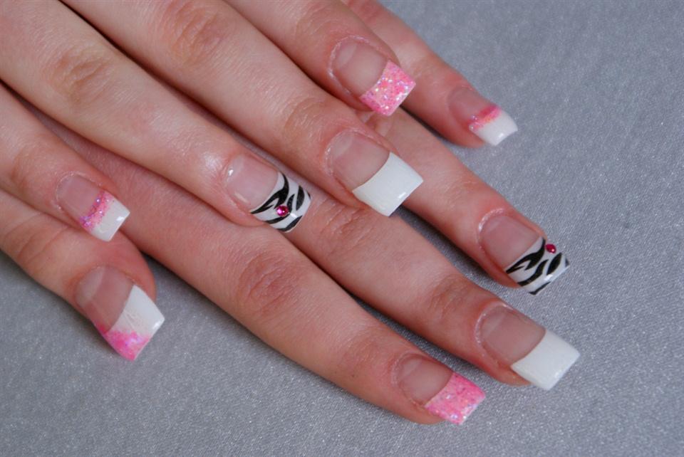 pink glitter zebra french - Nail Art Gallery
