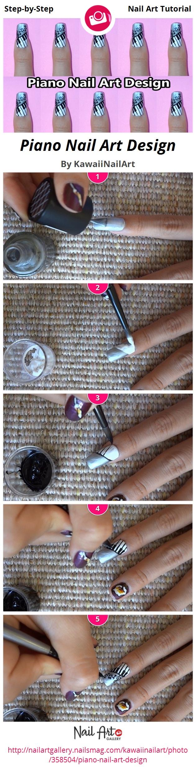Piano Nail Art Design - Nail Art Gallery