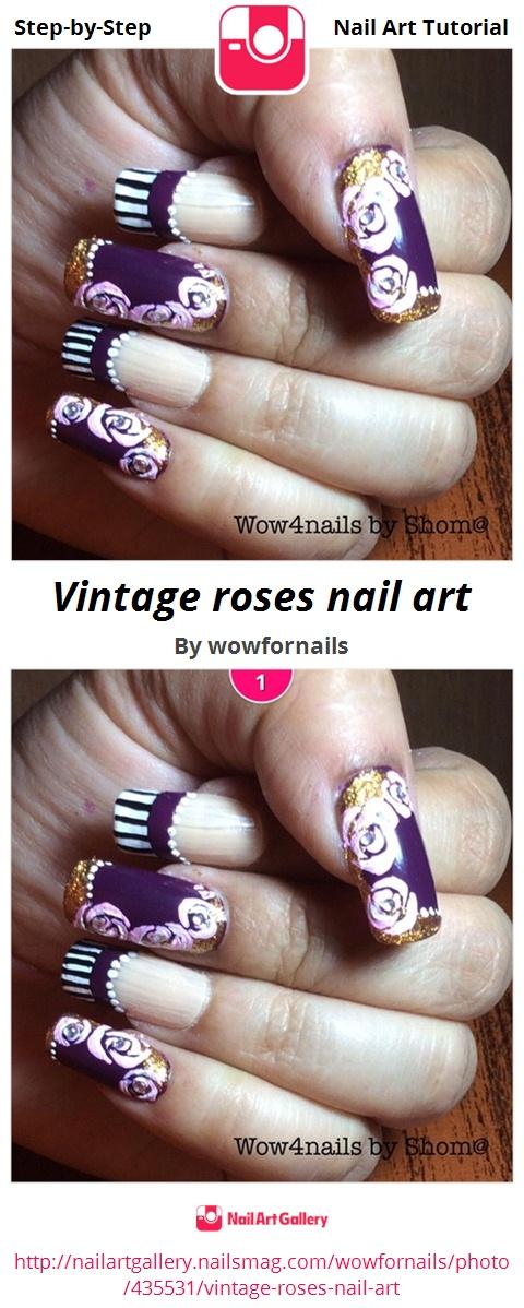 Vintage roses nail art - Nail Art Gallery