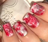 Red/white/silver Holo Smooshy Nails