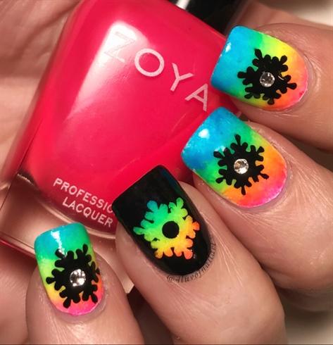 Neon Rainbow Snowflakes