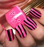Pink & Black Watermarble Stripes