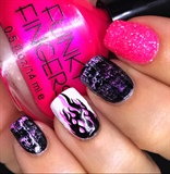 Black, White, Neon Pink