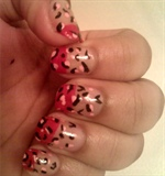 Pink,Red and Black Cheetah