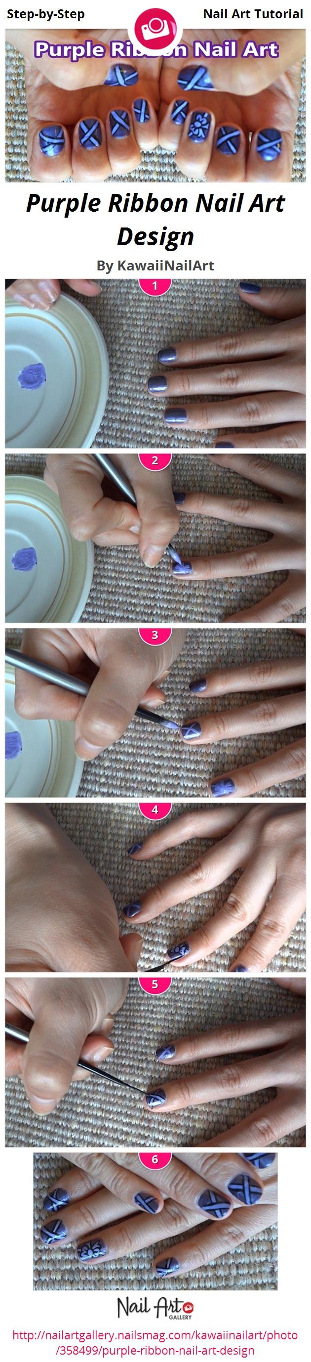 Purple Ribbon Nail Art Design - Nail Art Gallery