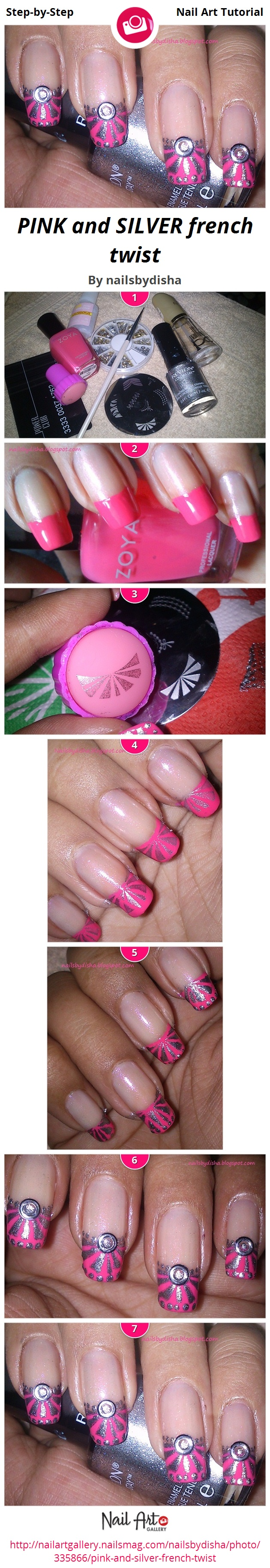 PINK and SILVER french twist - Nail Art Gallery