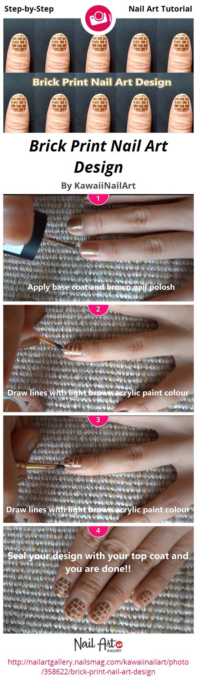Brick Print Nail Art Design - Nail Art Gallery
