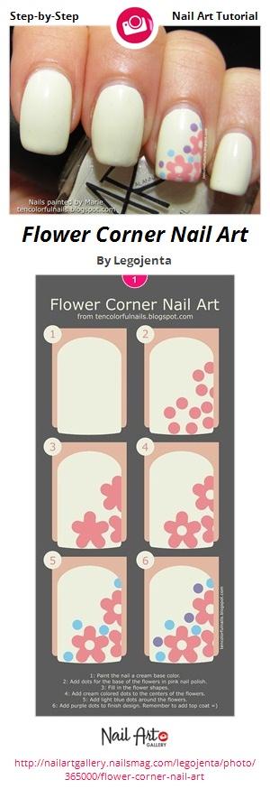 Flower Corner Nail Art - Nail Art Gallery