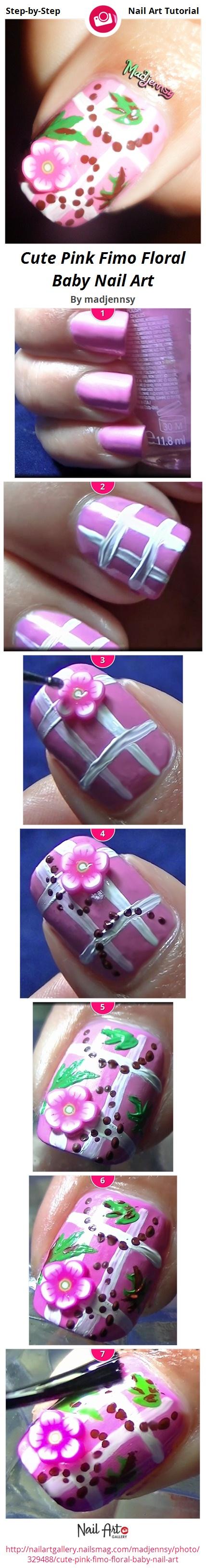 Cute Pink Fimo Floral Baby Nail Art - Nail Art Gallery
