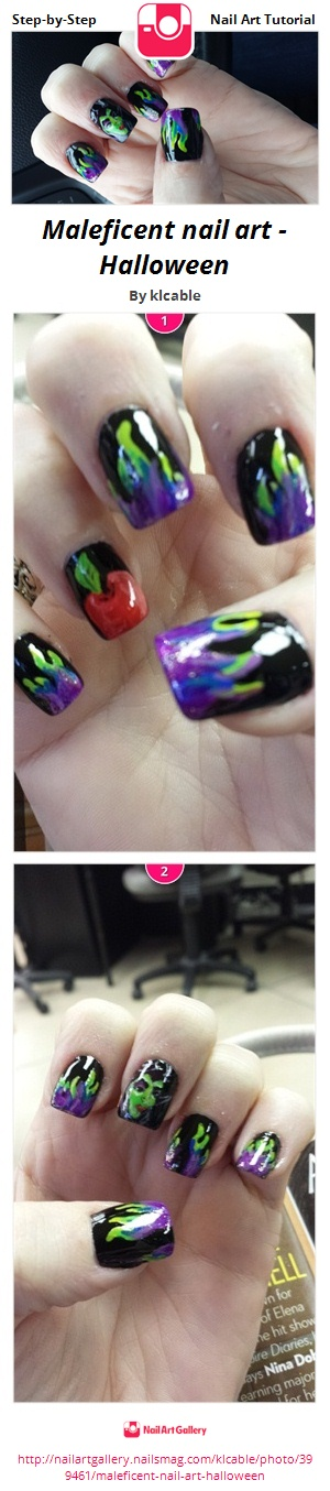 Maleficent nail art - Halloween - Nail Art Gallery Step-by-Step ...