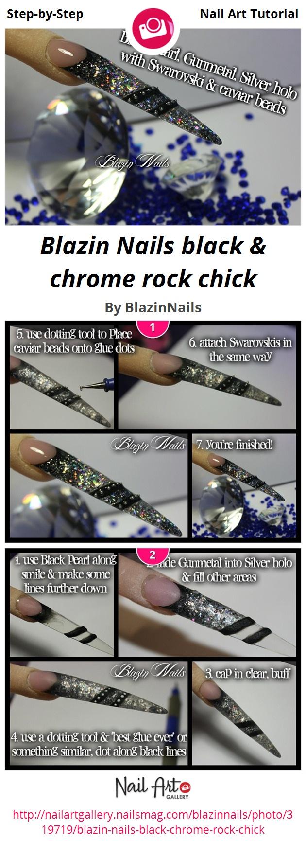 Blazin Nails black & chrome rock chick - Nail Art Gallery