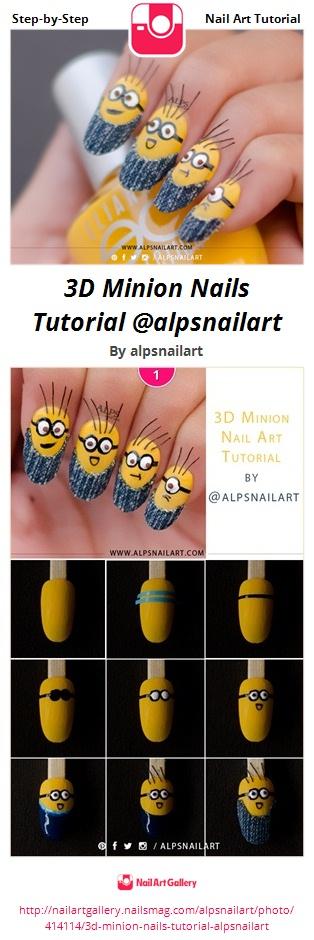 3D Minion Nails Tutorial @alpsnailart - Nail Art Gallery
