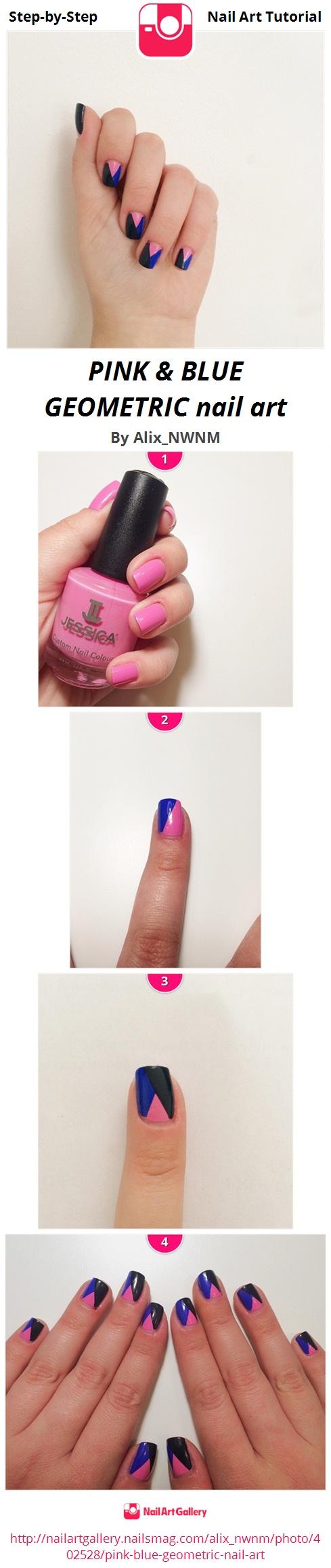 PINK & BLUE GEOMETRIC nail art - Nail Art Gallery