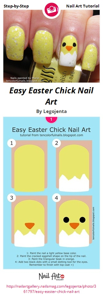 Easy Easter Chick Nail Art - Nail Art Gallery