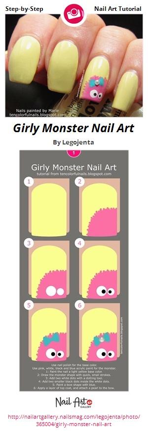 Girly Monster Nail Art - Nail Art Gallery