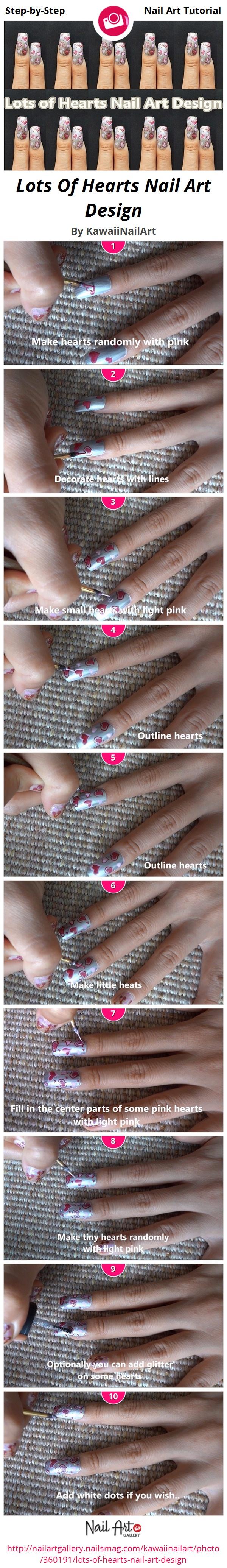 Lots Of Hearts Nail Art Design - Nail Art Gallery