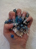 stilletto, blue glitter white french