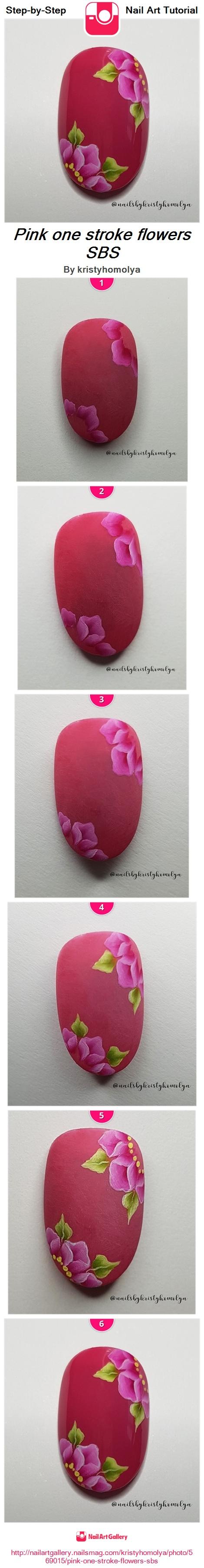 Pink one stroke flowers SBS - Nail Art Gallery