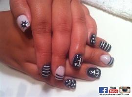 nail art: Mariner ** Nail Art ** Boat ** Navy