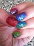 Rainbow gradient nails