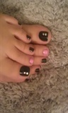 Black & Pink Pedi with Crystals