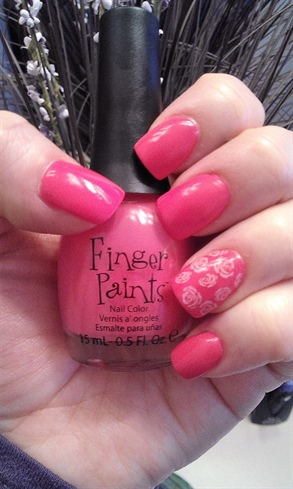 Pink Nails with flower stams