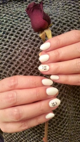 White Ghost Nail Design