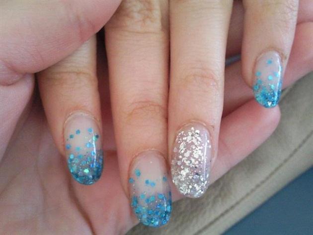 blu and silver glitter