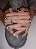 beautiful manicure with black and white