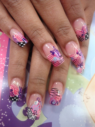 beautiful nail with pink decor