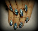 Glitter mix acrylic nails freehand art