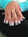 Flare Nails with Silver Polka Dots