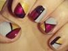 geometric print three colours nail art