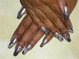 Silver Grey Design on Long Natural Nails