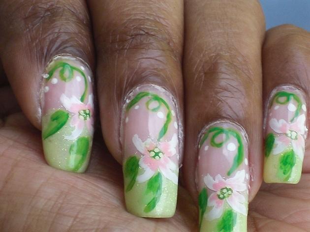 (Natural Nail) Pink Flowery Girly Nails