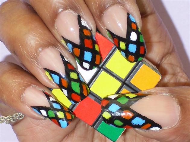 Retro- Rubix Cube Inspired Nails