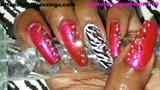 Metallic Pink & Zebra Nails  pic2