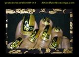 Black Gold Nails & Toes.(I cut my nails)