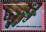 Green Butterfly Nail Art Design
