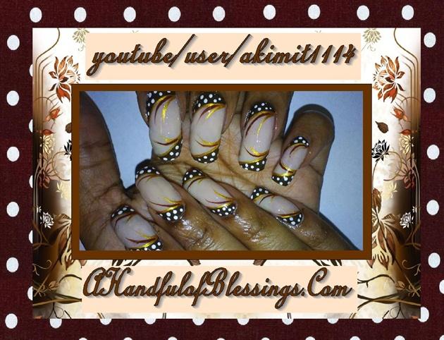 Natural Neutral Brown PolkaDot Nails