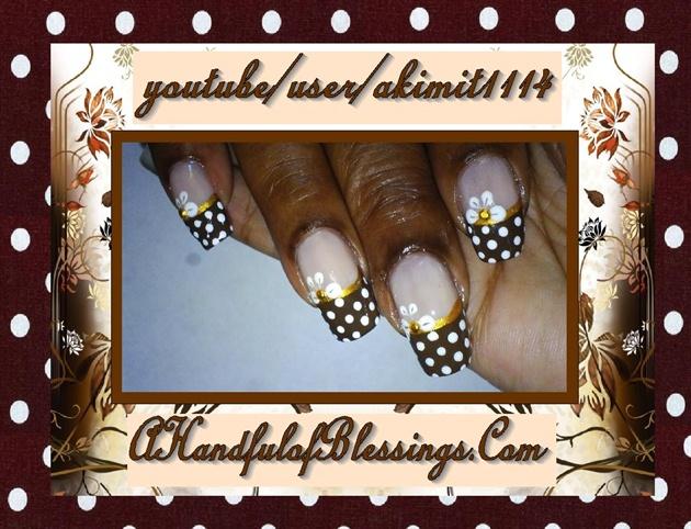 Natural Nails: Brown Polka Dot French