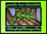 Natural Nails: Bright Green Floral Nails