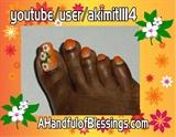 Natural ToeNails: Orange Floral