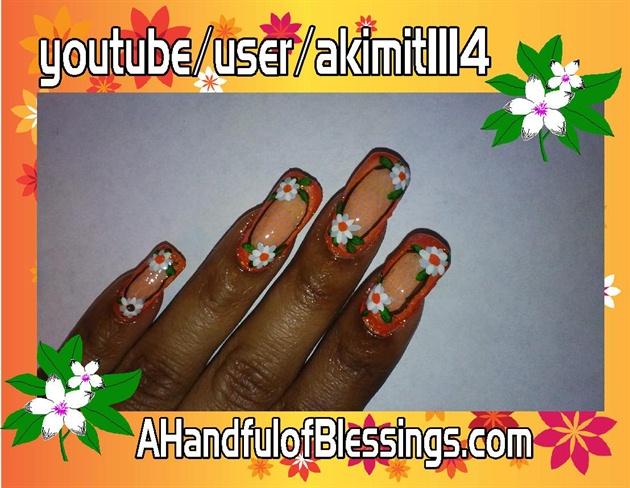 Natural Nails: Orange Floral Lace Net 2