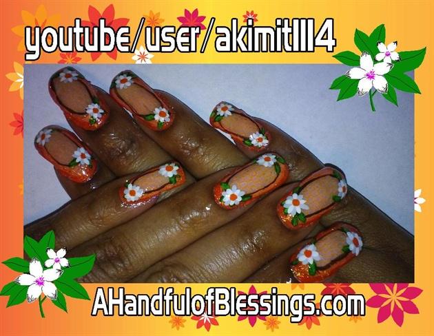 Natural Nails: Orange Floral Lace Net 1